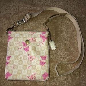 Coach Waverly Pink Butterfly Crossbody Bag Canvas